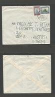 JORDAN. 1950 (13 July) Hebron, El Khalil - Austria, Wien. Multifkd Envelope. Scarce Village Usage On Overseas Mail. - Jordan