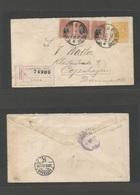 PERU - Stationery. 1892 (7 Enero) Lima - Denmark, Copenhagen (12 Febr) Via London (8 Feb) Registered 10c Orange Stationa - Peru