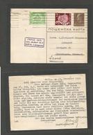 BULGARIA. 1939 (17 Nov) Sofia - Denmark, Copenhagen 1lb Brown Stat Card + Adtl; Rolling Cancel. Fine + Destination. - Bulgarije