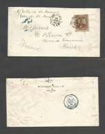 MEXICO. 1883 (June) Veracruz - France, Paris (11 July). Fkd Envelope Bearing 12c Brown Juarez Foreign Issue, Tied French - Mexico
