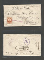 MEXICO. 1879-80 (Febr) Fkd Env To Cuba, Habana (18 Febr 80) Posted On Board US Ship Suarez Foreign Issue By 5c Orange 37 - Mexico