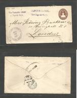 SALVADOR, EL. 1903 (22 Ago) Santiago De Maria - UK, London (24 Sept) Via NYC (15 Sept) Panama, Colon. 13c Brown Stationa - El Salvador