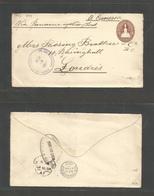 SALVADOR, EL. 1903 (18 Ago) Santiago De Maria - UK, London (16 Sept) 13c Brown Stationary Envelope Via Panama - NYC (8 S - El Salvador