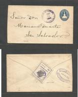 SALVADOR, EL. 1903 (14 Apr) La Libertad - San Salvador (15 Apr) Local 5c Blue Stat Env + Reverse 1c Timbre Instrucción P - El Salvador