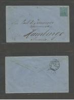 SALVADOR, EL. 1893. GPO - Germany, Hamburg (21 Dec) Via NYC (11 Dec) 20c Green/bluish Stationary Envelope. Fire Brigade - El Salvador