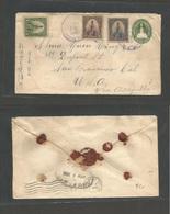 SALVADOR, EL. 1904 (5 April) Salvador  - USA, S. Francisco. Via Acajutla 1c Green Registered Stationary Envelope + 3 Adt - El Salvador