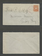 NICARAGUA. 1897 (25 June) Bluefields - Sandy Bay. 10c Orange / Bluish Stationary Envelope Violet Cds + Stat. Addressed T - Nicaragua
