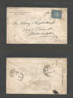 "DOMINICAN REP. 1893 (20 March) Samana - USA, Philadelphia (30 March) Fkd Env 5c Blue, Violet Cds + ""SAGINA W"" Straighlin - Dominican Republic"