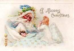 MAGNIFIQUE Illustrée Gaufrée . PERE NOEL BLEU, Ange Veillant Sur Un Enfant Endormi . - Santa Claus