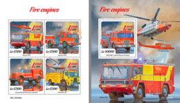 SIERRA LEONE 2019 MNH Fire Engines Feuerwehr Fahrzeuge Camions De Pompiers M/S+S/S - OFFICIAL ISSUE - DH1921 - Sapeurs-Pompiers