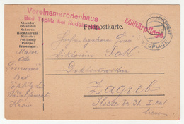 Austria Slovenia WWI Feldpostkarte Travelled 1916 Toplitz B. Rudolswert Toplice To Zagreb B190601 - Slovenia