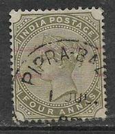 India, Queen Victoria, 1885, 4 Annas Olive-green, C.d.s. Used - India (...-1947)