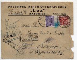Poland Registered Katowice Lwow Advertisement  Kino  1934 - 1919-1939 Republic