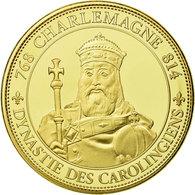 France, Médaille, Les Rois De France, Charlemagne, FDC, Copper-Nickel Gilt - Other