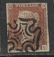 Great Britain, VR, 1841, 1d Red-brown, Imperforate, 4 Margains,  Used Black Maltese Cross - Oblitérés
