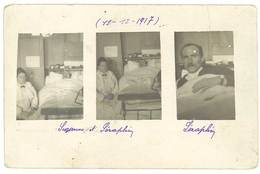 Cpa Carte-photo, Montage Femme Et Homme Malade Allité ( 1917, Blessé De Guerre ? ) Photo Guiraud, Paris XIIIe   ( SA ) - Health