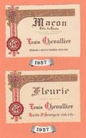 2 ETIQUETTES NEUVES FLEURIE - MARON TETE DE CUVEE LOUIS CHEVALLIER  NEGOCIANT à NUITS - St GEORGES (COTE D'OR) - Beaujolais