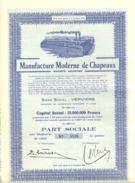 """ACTION """" Manufacture Moderne De Chapeaux SA """" VERVIERS  Avec 22 Coupons - Actions & Titres"""