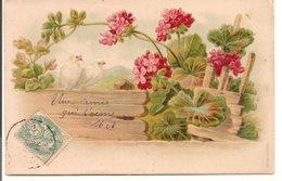 L120B343 - Fleurs Et Colombes - Carte Gauffrée Et Précurseur - Flores