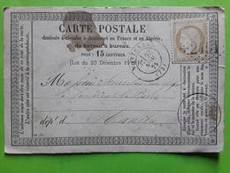 Carte PRECURSEUR, MONTEREAU,Seine Et Marne  GC 2451 S CERES 55 ,28 Novembre 1875 >  Sourdeval Manche - Marcophilie (Lettres)