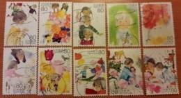 Japon 2013 6113 6122 Fleurs Narcisse Tulipe Poupée Enfants   Photon Non Contractuelle - 1989-... Empereur Akihito (Ere Heisei)