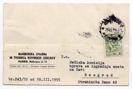 1955 YUGOSLAVIA, SLOVENIA, MARIBOR, CORRESPONDENCE CARD, STEEL WORKS  FACTORY - 1945-1992 Socialist Federal Republic Of Yugoslavia
