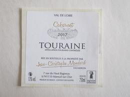 41 Loir Et Cher Mareuil Sur Cher Touraine Cabernet étiquette Vin Autocollant Autocollants Jean Christophe Mandard - Etiquettes