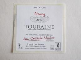 41 Loir Et Cher Mareuil Sur Cher Touraine Gamay étiquette Vin Autocollant Autocollants Jean Christophe Mandard - Etiquettes