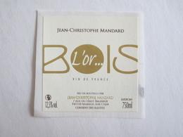 41 Loir Et Cher Mareuil Sur Cher Touraine L'or Bois étiquette Vin Autocollant Autocollants Jean Christophe Mandard - Etiquettes
