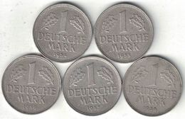 Germany Collection Of 5x 1 Mark Coins 1954-1958 All Listed & Different Scarcer Years - 1 Mark