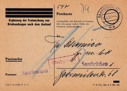 CP Obl SAARBRÜCKEN 2 Du 10.4.57 Adressée à Saarbrücken Avec Nachgebühr - Briefe U. Dokumente
