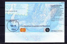9901 IRC IAS CRI - International Reply Coupon - Antwortschein T37 Mazedonien MK 20130514 AA Stempel Skopje - Macedonia