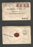"""INDOCHINA. 1915 (9 Nov) WWI + French China Censor. French PO In Canton On Fkd Cover To Switzerland, Bale (16 Dec) """"Via S - Stamps"""