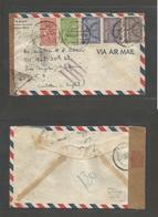 SAUDI ARABIA. 1941 (16 Dec) BAHREIN. Khobar - USA, LA. Air Multifkd S. Arabia Stamps, Bilingual Cds + Reverse BAHREIN (1 - Saudi Arabia
