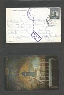 "JORDAN. 1964 (28 July) OAT / FS Jerusalem - Belgium, St. Salles With Double Arab + Bilingual Cachet. + Frkd Card + ""OAT/ - Jordan"