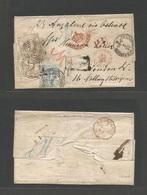GERMAN STATES-T&T. 1865 (31 July) Frankfurt - UK, London (Aug 2) Registered Multifkd 24 Kr Rate EL With Four Registratio - Deutschland