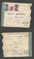 LEBANON. 1942 (19 May) Tripoli - Gold Coast, Salt Pond. Franked Envelope + Depart Censor Label + Cairo. Via Beyrout (2 J - Lebanon