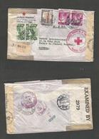 PERU. 1942 (14 Dec) Lima - Switzerland, Geneve. Peru Red Cross WWII Mail Cachet. Registered Air Multifkd Env. Via Miami - Peru