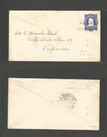 "CHILE - Stationery. 1913 (10 Aug) Local Usage To Valparaiso. 5c Blue Stationary Envelope, Boxed Maritime Cachet ""HAUTE M - Chile"