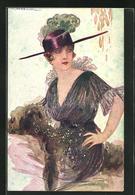 Künstler-AK Tito Corbella: Dame In Extravagantem Kleid Mit Federn An Hut - Corbella, T.