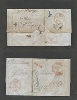 "USA. 1850 (Sept 5) Cincinnati, DH - Germany, Leipzig Reverse. ""AMERICA Via ENGLAND"" Red Box Cachet. Stampless EL Cash Pa - Unclassified"