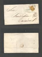 VENEZUELA. 1861 (10 Apr) La Guayra - Caracas. E Fkd 1st Issues 1/2 Real YELLOW (scarce Color), Complete Margin, Tied Cds - Venezuela