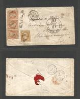 "FRANCE. 1856 (3 May) Pan - USA, St. Louis, Missouri. Fkd Envelope At 10c + 40c (stamp Of Three) Empire ""2388"", Tied + Vi - France"