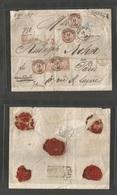 GERMAN STATES-BAYERN. 1870 (14 Jan) Munich - France, Paris (15 Jan) Registered Multifkd Envelope, Bearing 18kr + 3kr (x4 - Deutschland