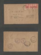 "MALAYSIA. 1947 (2 July) SARAWAK. Kuching - USA, Gunpison, Cº (5-11 Sept) Via NYC. Registered Multifkd Envelope ""GR"" Crow - Malaysia (1964-...)"