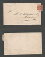ECUADOR. 1890 (14 Sept) Guayaguil - Germany, Hamburg. Complete Franked News Wrapper Bearing 2c Red Tied Cds. Very Rare R - Ecuador