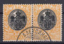 Serbia Kingdom 1903 Mi#66 Pair With Nice Aleksinac Cancel - Serbia