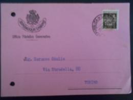 San Marin Carte De 1960 Pour Torino - Lettres & Documents