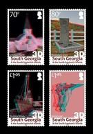 South Georgia 2019 Mih. 732/35 Grytviken Settlement. Church. Shackleton Grave. Ship Wreck. Harpoon Gun (3D) MNH ** - South Georgia