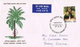 32810. Carta Aerea BOMBAY G.P.O. (India) 1976. Coconut Research, Coco - India